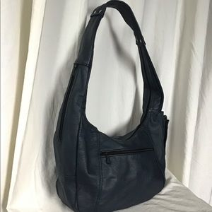 Vintage Blue Leather Sling Bag